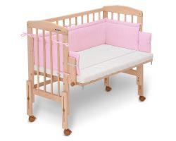 FabiMax Beistellbett PRO mit Matratze und Nestchen Amelie rosa