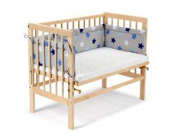FabiMax Beistellbett BASIC natur, inkl. Matratze und Nestchen blaue Sterne auf grau