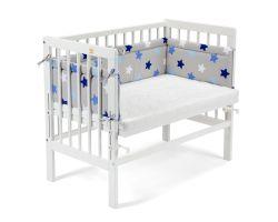 FabiMax Beistellbett BASIC weiß, inkl. Matratze und Nestchen blaue Sterne auf grau