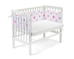 FabiMax Beistellbett BASIC weiß, inkl. Matratze und Nestchen rosa Sterne auf weiß