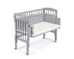 FabiMax Beistellbett PRO grau mit Matratze und Nestchen weiße Sterne auf grau