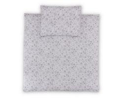 FabiMax Bezug für Steppdecke 80x80 cm und Kissen 30x40 cm, graue Blümchen