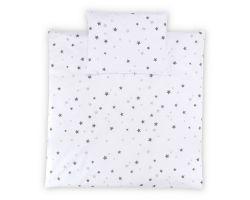 FabiMax Bezug für Steppdecke 80x80 cm und Kissen 30x40 cm, graue Sterne auf weiß