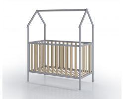FabiMax Kinderbett Schlafmütze, 60 x 120 cm, grau / natur