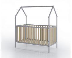 FabiMax Kinderbett Schlafmütze, 70 x 140 cm, grau / natur