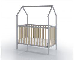 FabiMax Kinderbett Schlafmütze, 60 x 120 cm,  grau / natur, mit Matratze