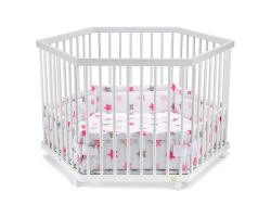 FabiMax Laufgitter 6-eckig mit Laufgittereinlage rosa Sterne auf weiß, Parkettrollen, Buche, weiß lackiert
