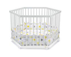 FabiMax Laufgitter 6-eckig mit Laufgittereinlage gelbe Sterne auf weiß, Parkettrollen, Buche, weiß lackiert