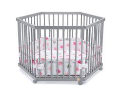 FabiMax Laufgitter 6-eckig mit Laufgittereinlage rosa Sterne auf weiß, Parkettrollen, Buche, grau lackiert