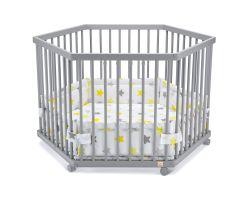 FabiMax Laufgitter 6-eckig mit Laufgittereinlage gelbe Sterne auf weiß, Parkettrollen, Buche, grau lackiert