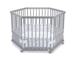 FabiMax Laufgitter 6-eckig mit Laufgittereinlage graue Sterne auf weiß, Parkettrollen, Buche, grau lackiert