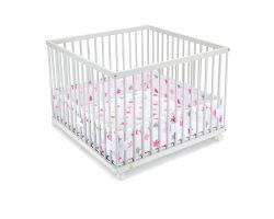 FabiMax Laufgitter 100x100 cm mit Laufgittereinlage rosa Sterne auf weiß, Parkettrollen, Buche, weiß lackiert