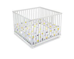 FabiMax Laufgitter 100x100 cm mit Laufgittereinlage gelbe Sterne auf weiß, Parkettrollen, Buche, weiß lackiert
