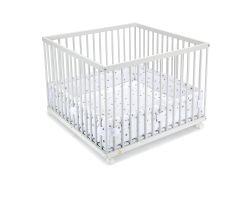 FabiMax Laufgitter 100x100 cm mit Laufgittereinlage graue Sterne auf weiß, Parkettrollen, Buche, weiß lackiert