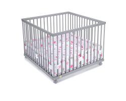 FabiMax Laufgitter 100x100 cm mit Laufgittereinlage rosa Sterne auf weiß, Parkettrollen, Buche, grau lackiert