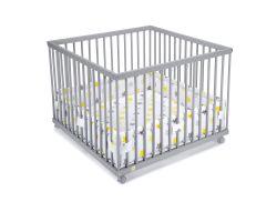 FabiMax Laufgitter 100x100 cm mit Laufgittereinlage gelbe Sterne auf weiß, Parkettrollen, Buche, grau lackiert