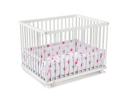FabiMax Laufgitter 75x100 cm mit Laufgittereinlage rosa Sterne auf weiß, Parkettrollen, Buche, weiß lackiert