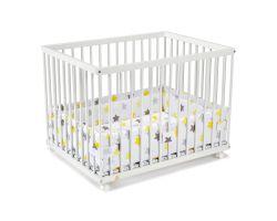 FabiMax Laufgitter 75x100 cm mit Laufgittereinlage gelbe Sterne auf weiß, Parkettrollen, Buche, weiß lackiert