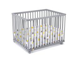 FabiMax Laufgitter 75x100 cm mit Laufgittereinlage gelbe Sterne auf weiß, Parkettrollen, Buche, grau lackiert