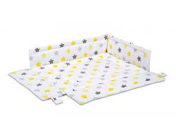 FabiMax Laufgittereinlage 75x100 cm, gelbe Sterne auf weiß