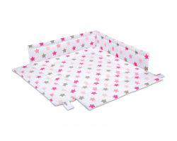 FabiMax Laufgittereinlage 100x100 cm, rosa Sterne auf weiß