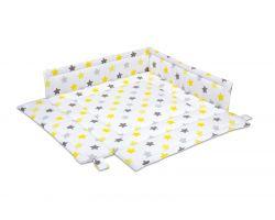 FabiMax Laufgittereinlage 100x100 cm, gelbe Sterne auf weiß