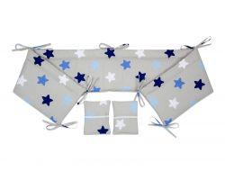 FabiMax Nestchen für Beistellbett Pro, 90x40 cm, blaue Sterne auf grau