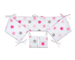 FabiMax Nestchen für Beistellbett Pro, 90x40 cm, rosa Sterne auf weiß