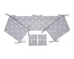 FabiMax Nestchen für Beistellbett Pro, 90x40 cm, weiße Sterne auf grau