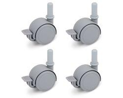 FabiMax Parkettrollensatz mit Bremse für Kindermöbel, 4 Stück, grau