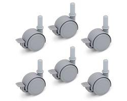 FabiMax Parkettrollensatz mit Bremse für Kindermöbel, 6 Stück, grau