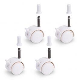 FabiMax Parkettrollensatz mit Bremse für Kindermöbel, 4 Stück, weiß