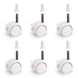 FabiMax Parkettrollensatz mit Bremse für Kindermöbel, 6 Stück, weiß