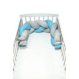 FabiMax Nestchenschlange geflochten, Nestchen Zopf  140x20 cm, grau / blau