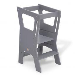 FabiMax Lernstuhl Lernturm Küchenhelfer Vario 4, grau lackiert