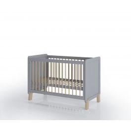FabiMax Kinderbett Nachteule, 60 x 120 cm, grau / natur