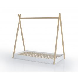 FabiMax Kinderbett Juniorbett Tipi, 80 x 160 cm, weiß / natur