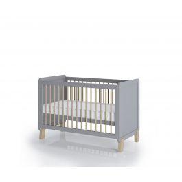 FabiMax Kinderbett Nachteule, 60 x 120 cm,  grau / natur, mit Matratze