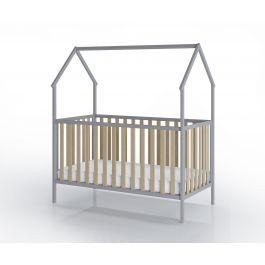 FabiMax Kinderbett Schlafmütze, 70 x 140 cm,  grau / natur, mit Matratze