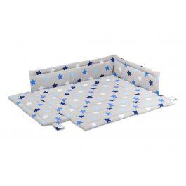 FabiMax Laufgittereinlage 75x100 cm, blaue Sterne auf grau