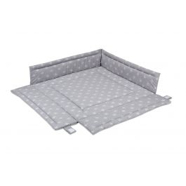 FabiMax Laufgittereinlage 100x100 cm, weiße Sterne auf grau