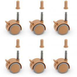 FabiMax Parkettrollensatz mit Bremse für Kindermöbel, 6 Stück, beige