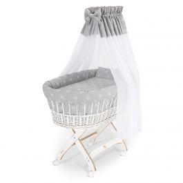 FabiMax Stubenwagen X, Korb weiß lackiert, Nest, Himmel und Bezüge, weiße Sterne auf grau