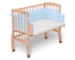 FabiMax Beistellbett PRO mit Matratze und Nestchen Amelie blau
