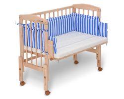 FabiMax Beistellbett PRO mit Matratze und Nestchen Betty blau