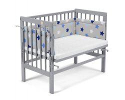 FabiMax Beistellbett BASIC grau, inkl. Matratze und Nestchen blaue Sterne auf grau