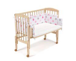 FabiMax Beistellbett PRO mit Matratze und Nestchen rosa Sterne auf weiß
