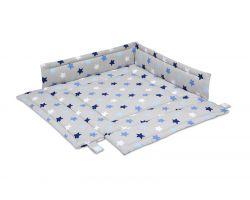 FabiMax Laufgittereinlage 100x100 cm, blaue Sterne auf grau