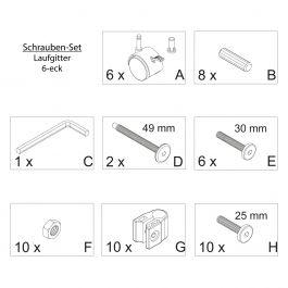 FabiMax Schraubenset für Laufgitter 6-eck weiß