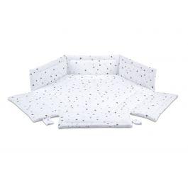 FabiMax 6-eck Laufgittereinlage graue Sterne auf weiß